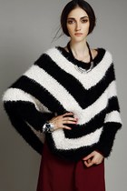 Color Block Striped Cape Sweater
