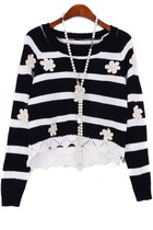 Flower Appliqued Cropped Sweater