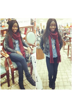 H&M jacket - New York and Company jeans - H&M shirt - H&M scarf