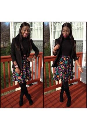 thirfted skirt - e-bay boots - unknown blazer - H&M shirt - H&M belt