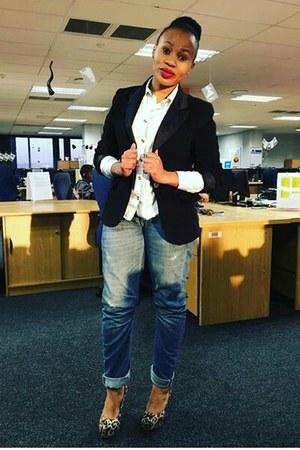 crimson River Island jeans - H&M blazer - Aldo heels