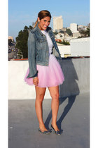 dip dye Topshop dress - denim Levis jacket - bow Jcrew flats