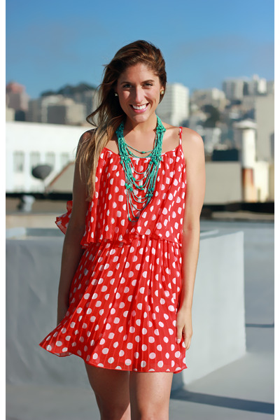 red polka dot Forever 21 dress - gold banana republic heels