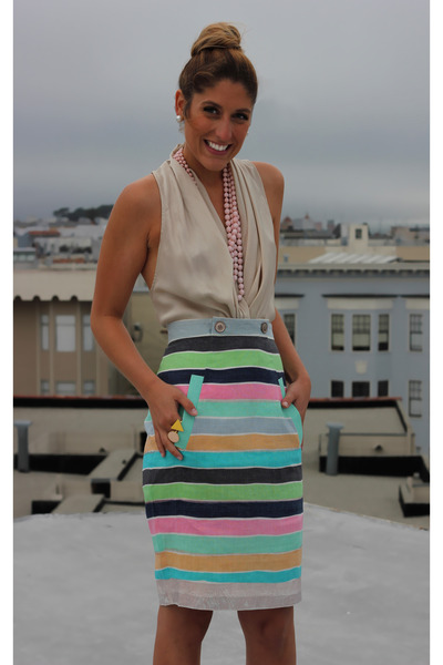 aquamarine striped tracy reese skirt - bubble gum Forever 21 necklace