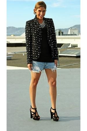star print Zara blazer - Zara heels - rhinestone Zara necklace