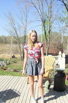 pink Forever 21 blouse - blue Forever 21 skirt - blue Gilly Hicks top - blue Tar