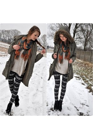 silver H&M blouse - dark gray house boots - olive green NN jacket