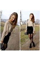 burnt orange Zara jumper - black NN shoes - black SH skirt