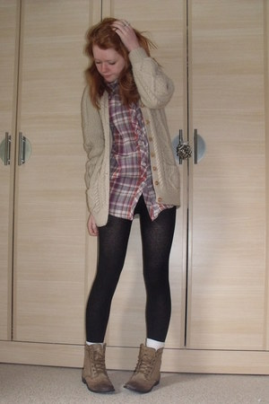 Primark shirt - tan handmade cardigan - light brown Matalan boots