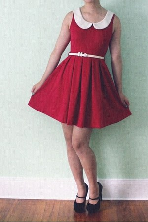 red vintage dress modcloth dress - black suede Aldo pumps
