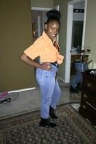 orange Accessorize blouse - orange vintage blouse