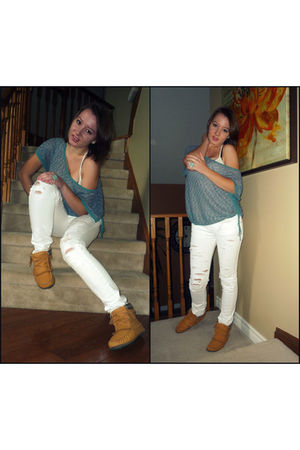 blue Roxy shirt - white Zara jeans - brown Softmoc shoes - blue Aldo accessories