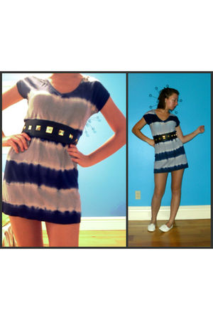 blue Dynamite dress - black H&M belt - white Aldo shoes