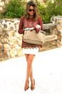 Maroon-zara-blouse-camel-gucci-bag-camel-stradivarius-skirt