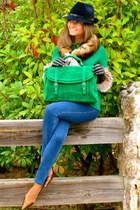 chartreuse PepaLoves bag - navy hollister jeans - navy Deny Rose hat