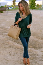 gold fahoma necklace - navy hollister jeans - camel Prada bag