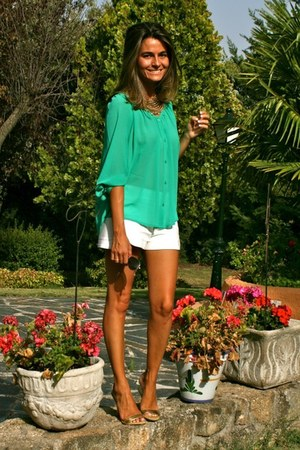 aquamarine H&M blouse - white Zara shorts - gold Pilar Burgos sandals