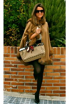camel barami cape - camel Gucci bag - black Zara shorts - black Nine West heels