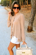 beige Forever 21 blouse - ivory Uterqe bag - white Zara shorts