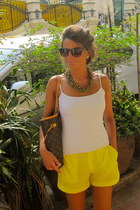 yellow Mango shorts - brown Louis bag - black Mango glasses - white Zara t-shirt