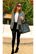 black Zara jacket - black Prada bag - black Zara shorts - white Zara blouse
