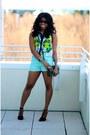 Dark-green-crossbody-target-bag-aquamarine-polka-dot-marshalls-shorts
