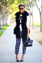 black faux fur Versace for H&M vest - ivory bow J Crew sweater