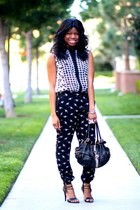 white print Marshalls top - black harem Forever 21 pants