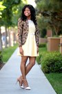 Light-yellow-crochet-forever-21-dress-brown-baroque-h-m-blazer