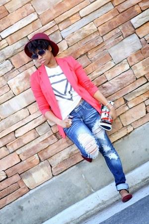 hot pink Target blazer - blue Charlotte Russe jeans - maroon Forever 21 hat
