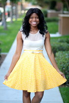 light yellow polka Shabby Apple skirt - ivory starlight free people dress