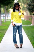 yellow Prabal Gurung sweater - blue boyfriend Forever 21 jeans