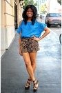 Brown-printed-tyche-shorts-blue-patterned-ark-co-top