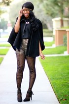 black Via Spiga cape - black Urban Outfitters dress - black peek brooklyn tights