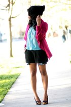 magenta Nasty Gal blazer - black boy meets girl shorts