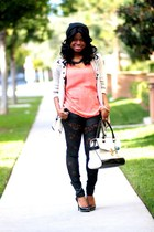 black lace go jane pants - ivory satchel Jason Wu bag - salmon Tobi top