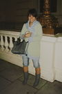 Blue-urban-outfitters-cardigan-gray-office-shoes-gray-longchamp-accessories-