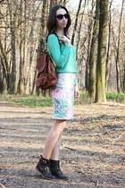 green H&M skirt - dark brown Topshop boots