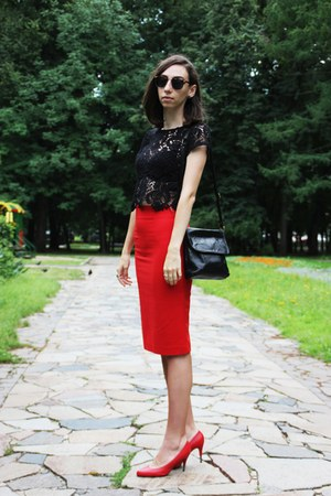 red Zara skirt - black H&M top