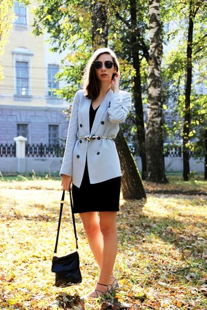 black H&M dress - sky blue Zara blazer - off white Topshop flats