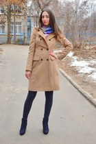 beige Zara coat - bubble gum H&M scarf