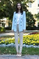 aquamarine Zara jacket - beige Mango pants
