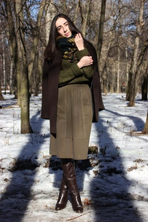 army green Zara sweater - army green Zara skirt