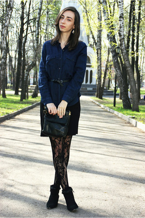 black Stradivarius boots - black H&M dress - navy Zara shirt