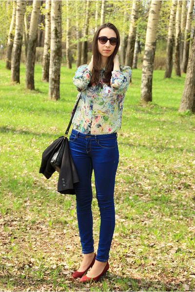 white Zara blouse - navy Zara jeans
