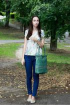 navy Zara jeans - white Zara blouse