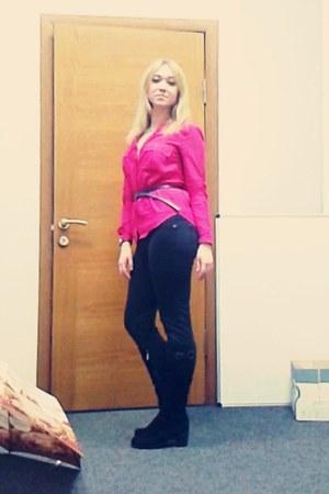 hot pink cotton Bershka blouse