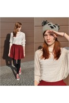 burgundy Stradivarius skirt - beige OASAP sweater - red Converse sneakers