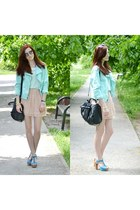 mint Primark jacket - nude Oasapcom skirt - mint Vero Moda blouse
