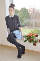 blue collar simple blouse - light blue DIY skirt - black CzasNaButy heels